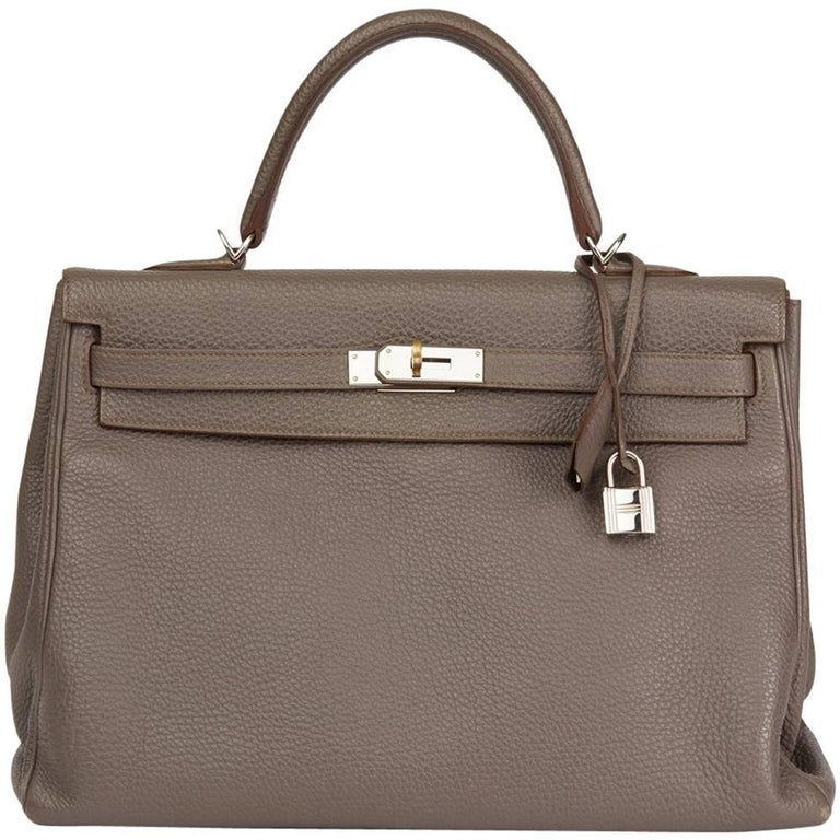 2013 Hermes Etain Togo Leather Kelly 35cm Retourne  For Sale