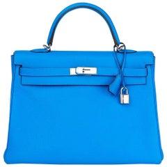 2012 Hermes Blue Hydra Clemence Leather Kelly 35cm Retourne