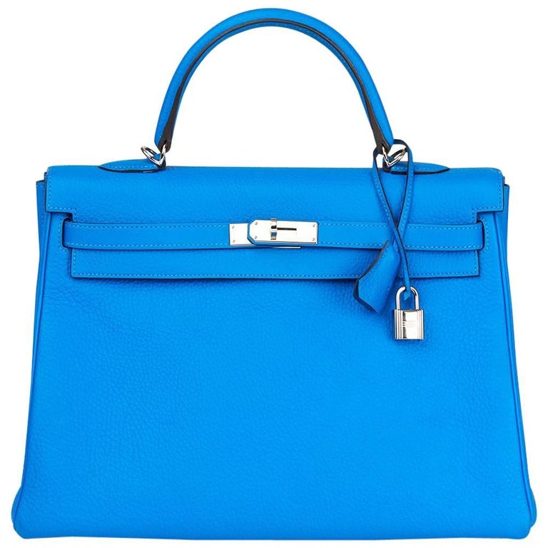 2012 Hermes Blue Hydra Clemence Leather Kelly 35cm Retourne