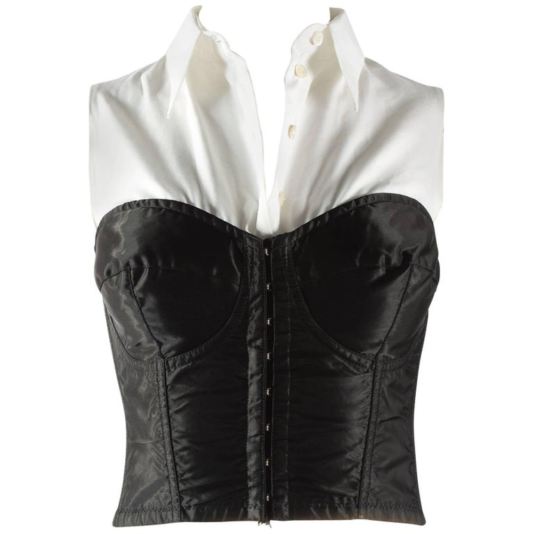 Dolce & Gabbana black satin and lycra corset with attached white shirt, aw 1992
