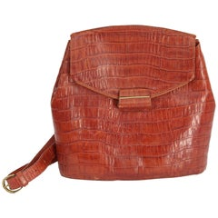 Les Copains Bucket Brown Leather Croc-Embossed Shoulder Bag