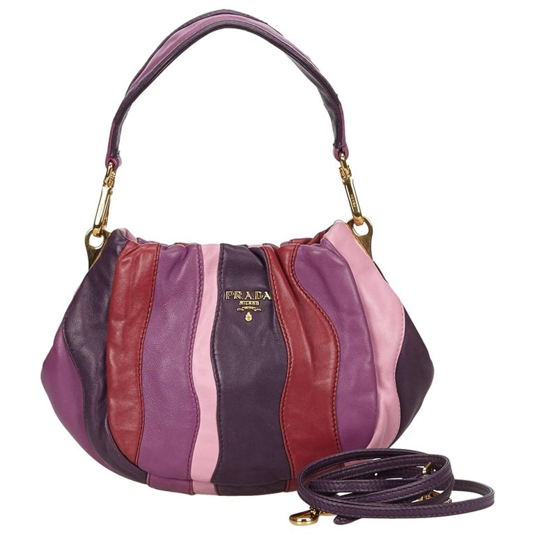 Prada Colour Blocked Gathered Leather Hand/Shoulder Bag  For Sale