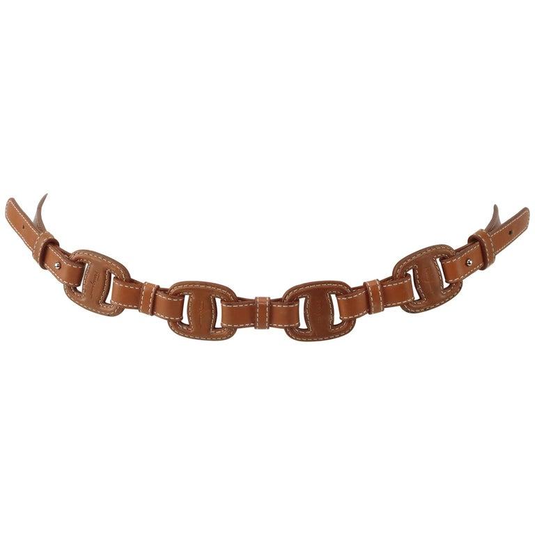 Ferragamo Equestrian Inspired Tan Leather Logo Belt