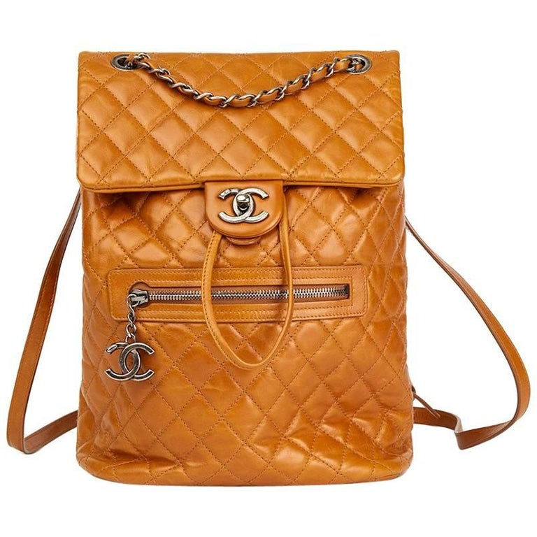 2015 Chanel Caramel Calfskin Leather Small Mountain Backpack