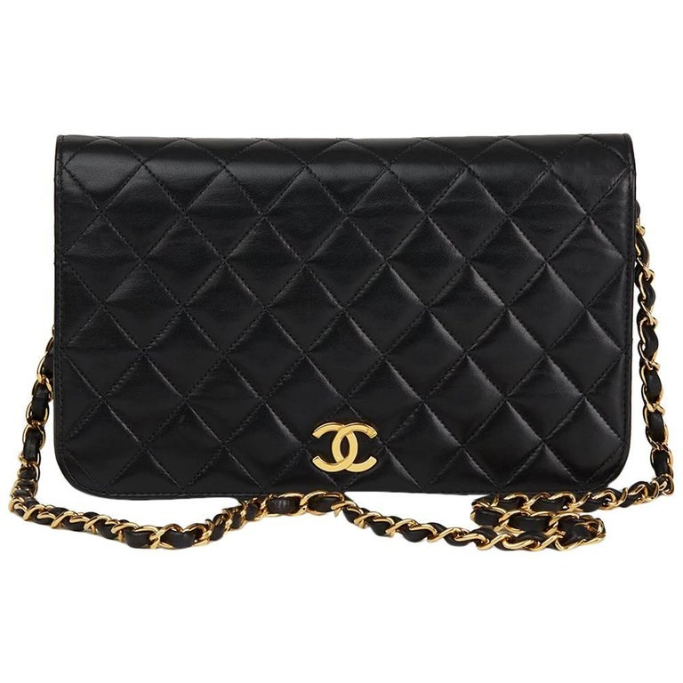 1997 Chanel Black Quilted Lambskin Vintage Small Classic Singe Full Flap Bag