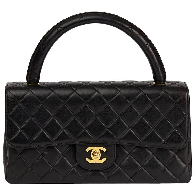 1997 Chanel Black Quilted Lambskin Vintage Medium Classic Kelly Flap