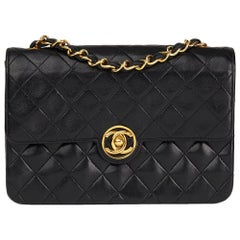1989 Chanel Black Quilted Lambskin Vintage Classic Single Flap Bag