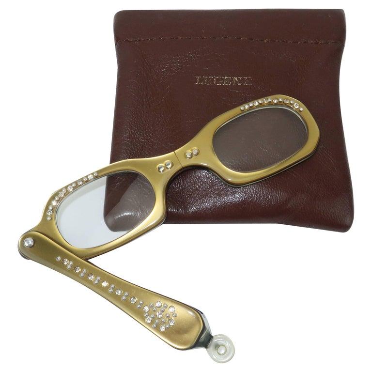 Vintage French Rhinestone Encrusted Lorgnette Reader Glasses
