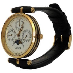 Gucci Moon Phase Pointer Triple Calendar Gold Filled Italian Watch