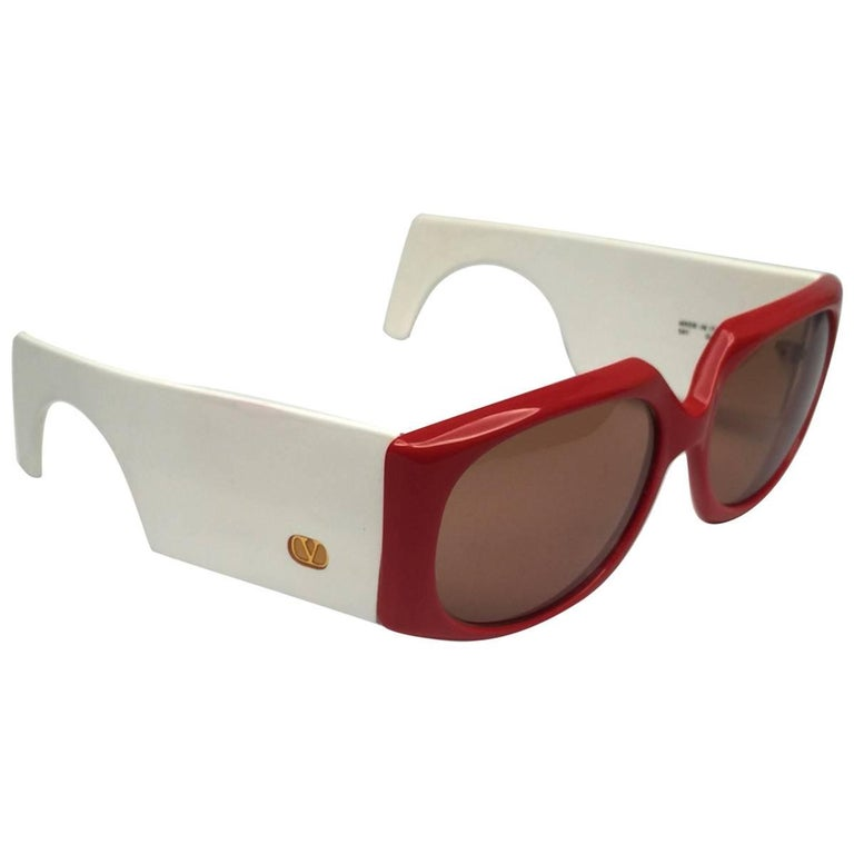 New Vintage Valentino 543 Red White Mask Sunglasses 1980's Made in Italy