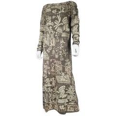 Alix Lebreton Paris Embroidered silk dress with chinoiserie, Circa 1930
