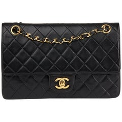 1988 Chanel Black Quilted Lambskin Vintage Medium Classic Double Flap Bag