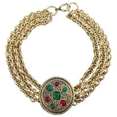Vintage Chanel Gripoix Necklace in Golden Metal