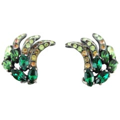 Schiaparelli green crystal earrings 50s