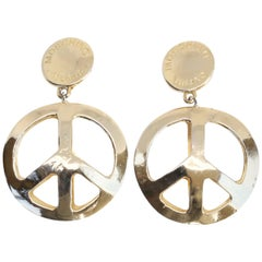 1990's MOSCHINO gold-tone 'peace-sign' earrings