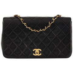 1989 Chanel Black Quilted Lambskin Vintage Small Classic Single Full Flap Bag