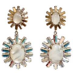 Philippe Ferrandis Opaline Glass Cabochon and Swarovski Crystal Clip Earrings