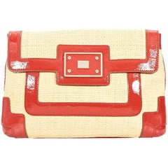 Tan & Red Anya Hindmarch Tan Straw Clutch