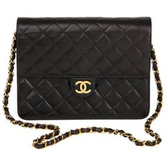 1997 Chanel Black Quilted Lambskin Vintage Small Classic Single Flap Bag