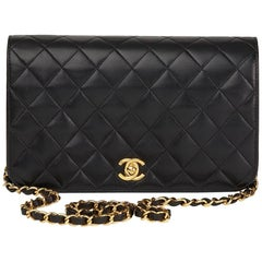2004 Chanel Black Quilted Lambskin Vintage Small Classic Single Full Flap Bag