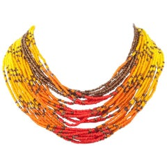 Vibrant glass bead multi-row necklace, Miriam Haskell, 1960s