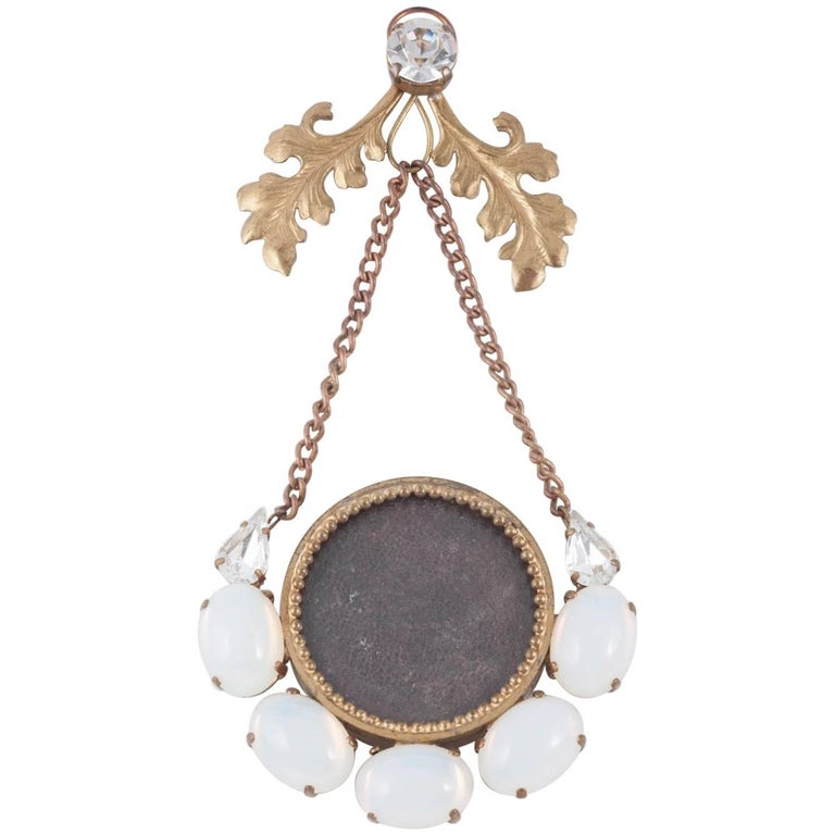 Victorian faux moonstone and brass hanging minature picture frame