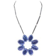Large soft lilac enamel stylised flower pendant, Jacques Gautier, France, 1960s