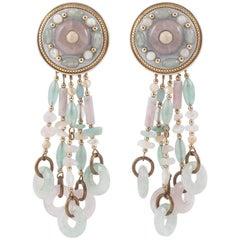 Very long detachable drop earrings, Michal Golan, New York, 1990s