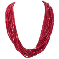 Silver, paste and red glass twist multi strand necklace, 1930s