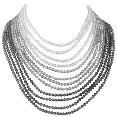 Graduated light to dark grey crystal multi strand necklace, Austrian, 1960s