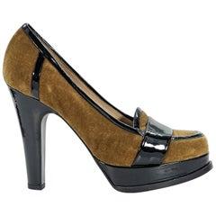 Brown Yves Saint Laurent Velvet Loafer Pumps