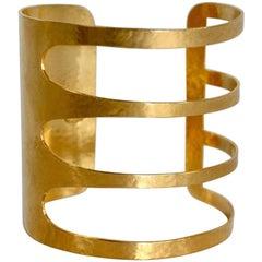 Herve van der Straeten Four Band Gilded Brass Cuff Bracelet