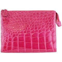 Colombo Fushia pink Crocodile clutch bag