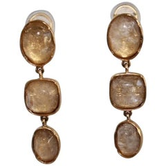 Goossens Paris Triple Drop  Rock Crystal Clip Earrings