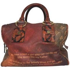 Louis Vuitton Limited Edition Man Crazy Jokes Orange Multi Color Tote Bag
