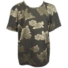 Chanel Black and Gold Brocade Top S/S