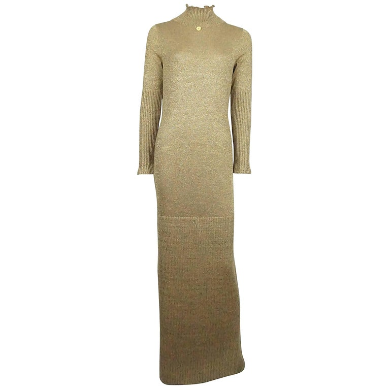 Chanel Gold Lame Knit Gown/Maxi Dress - 42 - 09A