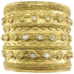 1980's Chanel 'Etruscan' Rhinestone Embellished Gold-Plated Cuff Bracelet