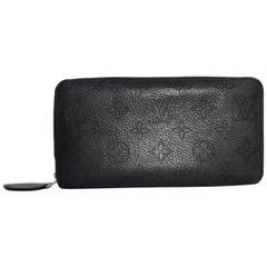 Louis Vuitton Monogram Black Mahina Zippy Wallet in Black