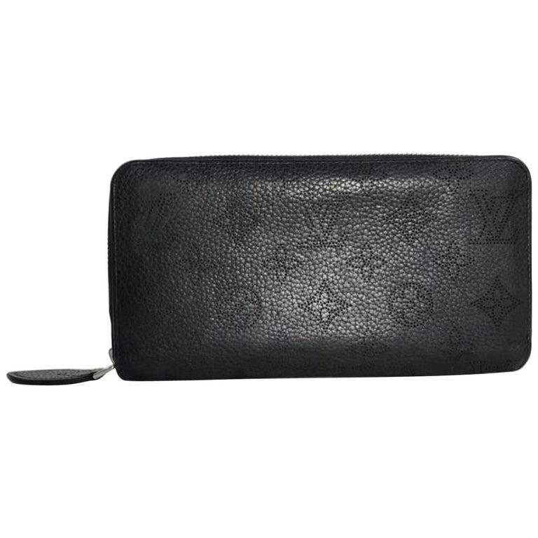 Louis Vuitton Monogram Black Mahina Black Zippy Wallet