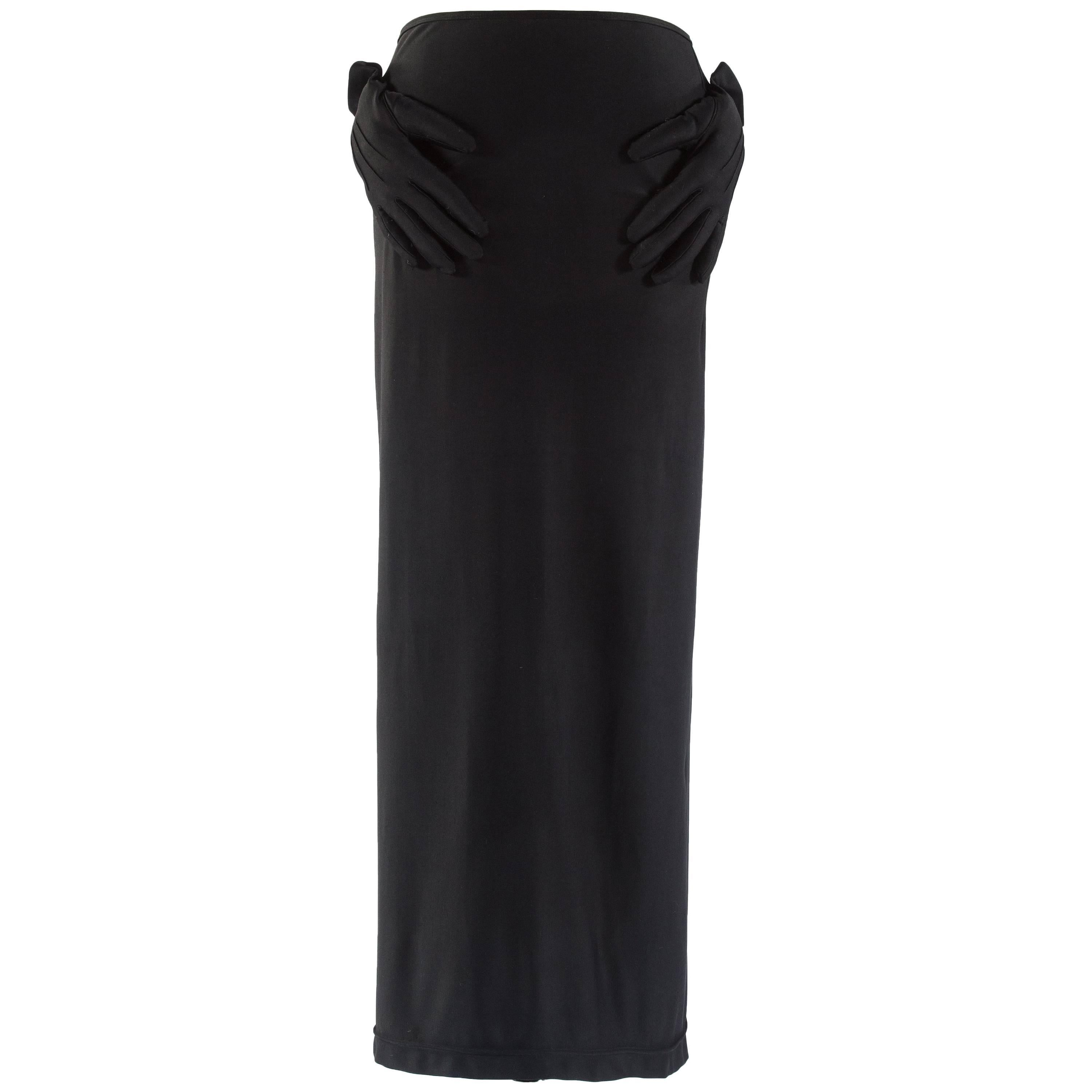 a08664818f74 Comme des Garcons black spandex pencil skirt with embossed gloves ...