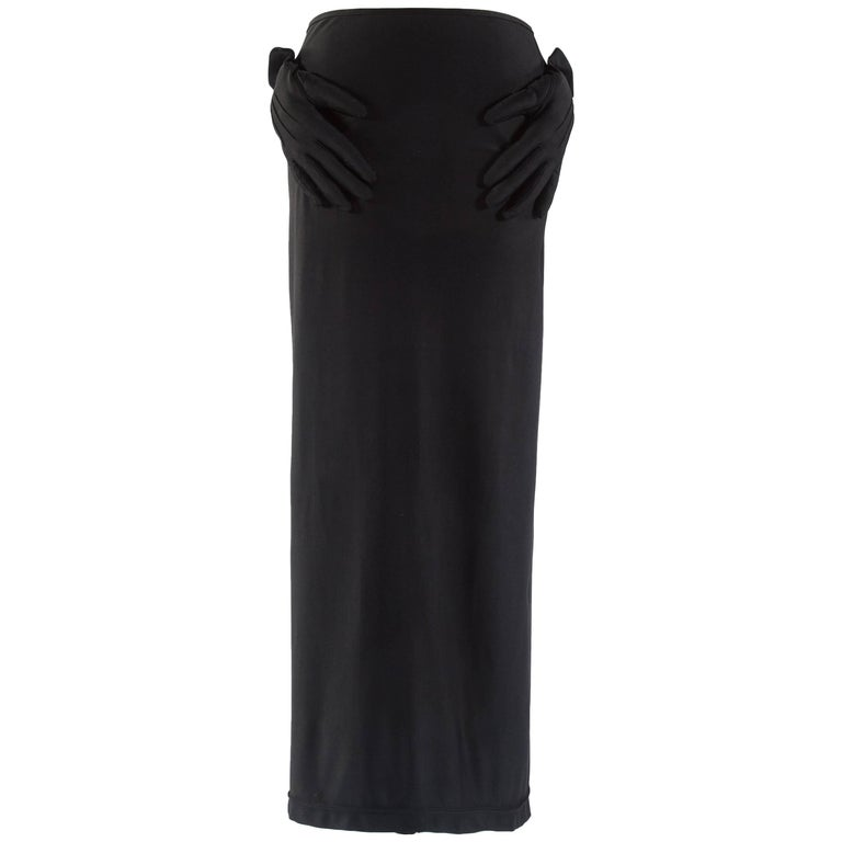 Comme des Garcons black spandex pencil skirt with embossed gloves, aw 2007 For Sale