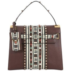 Valentino My Rockstud Convertible Satchel Tribal Embellished Leather Medium