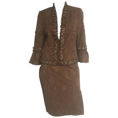 Carolina Herrera bronze and gold beaded skirt suit