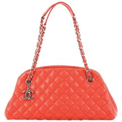 Chanel Just Mademoiselle Handbag Quilted Caviar Medium