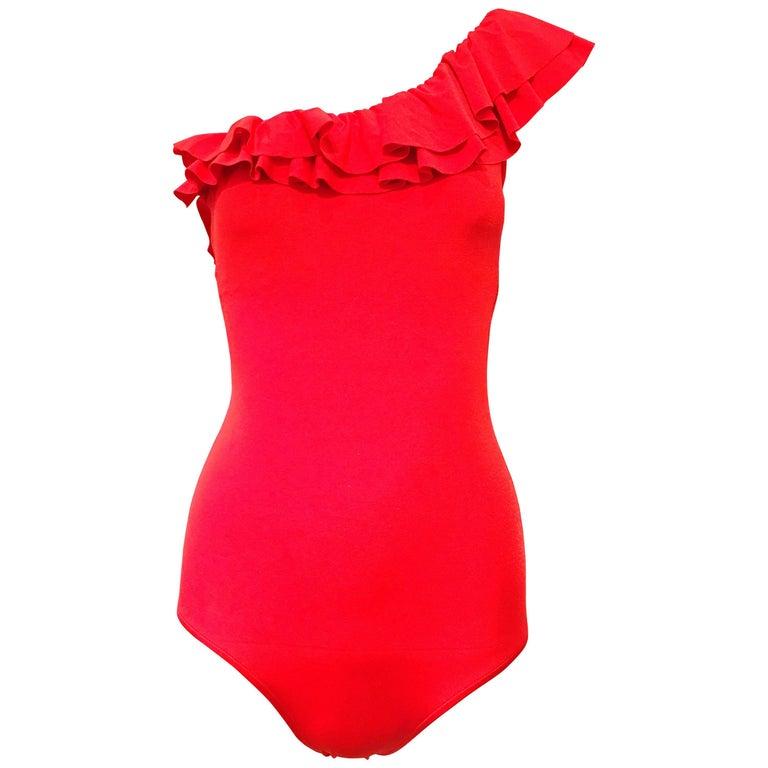 Bill Blass Red One Shoulder Ruffle Trim Bathing Suit