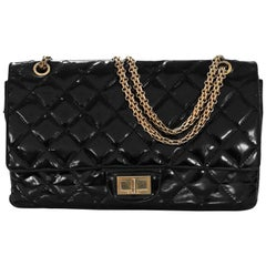 Chanel Black Patent Leather 2.55 Re-Issue 227 Double Flap Bag