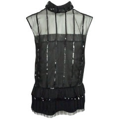 Chanel Black Silk Chiffon Sequin Sleeveless Top