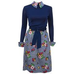 C.1970 Helen Halpern Jersey & Cotton Polka Dot Floral Dress