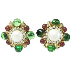 Chanel Green/Red Gripoix and Pearl Earrings - Circa 70's